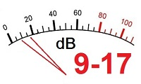 9 to 17 decibels